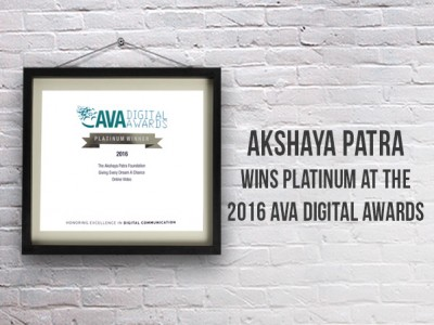 Akshaya Patra wins Platinum at the 2016 AVA Digital Awards